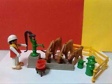 Granjera Vacas Playmobil 3499 Antiguo Bomba de Agua Abrevadero Fuente Belen