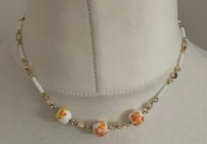 Ladies White, Orange & Gold Tone Beaded Necklace Costume Jewellery