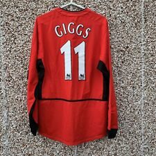 2002 04 Manchester United L/S Home Football Shirt #11 Ryan Giggs - Small Adult