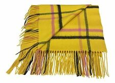 100% Cashmere Stole Throw Warp Oversize Scarf Yellow Check Made in Scotland