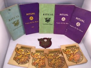 Vintage Lot Of  Moose Lodge RITUAL Books, Brass Door Emblem, Window Decals