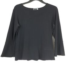 Sympli Blouse The Best Blouse 6 Black Tiered Top Bell Sleeve 3/4 Black Women's