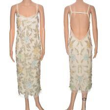 Floral embellished midi dress Miss Selfridge cream cami sequins beads Size 12