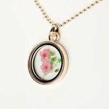 Halskette mit Medaillon Anhänger Blume floating Glas-Anhänger