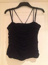 MONSOON Black Silk Strappy Top with twin beaded straps UK size 14