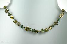 PILGRIM Vintage Necklace HORSESHOE HEART FLOWER Swarovski Green Gold BNWT RRP£45