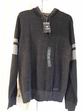 NWT GUESS MENS MASON MARLED PULLOVER SWEATER HOODIE JET BLACK MULTI 100% AUTH-SM
