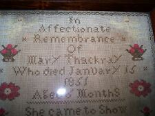 Antique Mourning Memorial Sampler Mary Thackray 1851