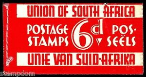 /SOUTH AFRICA 6d booklet (tear on front cover) 4x1d, 4x1/2d bilingualstamps@BB97