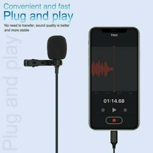 For iPhone iPad Clip-on Lapel Lavalier Mic Microphone Stereo Recording Condenser
