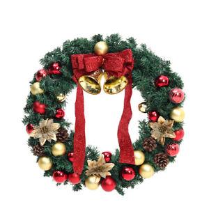 60CM Extra Large Christmas Wreath Pinecone Baubles Door Hanging Garland Decor UK