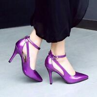 Women's Stiletto Ankle Strap Pumps Sandals Pointy Toe High Heels Shoes Plus Size
