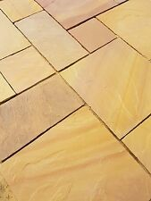 Golden Buff Indian Sandstone Paving Slabs Patio Flags Garden Slabs (19m2)