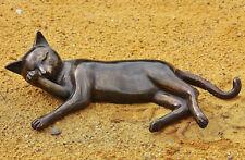 bronzekatze TENDIDO Gato tigrecillo Figura Bronce Jardín mu-105