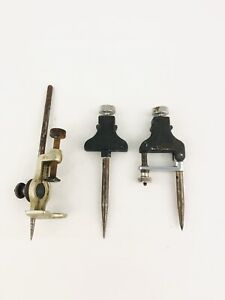 VINTAGE Set of Adjustable TRAMMEL POINTS Starrett No.50-A & One Unbranded Point