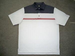 Men's NWOT FOOTJOY Golf Polo XL HEATHER GRAY & WHITE w/Trim w/FJ & Golf Logo
