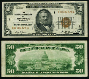 FR. 1880 I $50 1929 Federal Reserve Bank Note Minneapolis I00082828A VF/XF