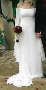 Jim Hjelm Wedding Dress style 4204 Ivory Chiffon & Satin Bohemian Bell Sleeves