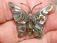 BEAUTIFUL VINTAGE MEXICO ALPACA SILVER IRIDESCENT ABALONE BUTTERFLY PIN