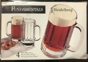 Libbey Heidelberg Glass Beer Mugs, 16-ounce, Set of 4 - Lot of 2