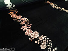 "Black Double Border Floral print two way stretch Velvet Fabric 58"" M16-14 Mtex"