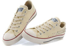Converse All Star baskets beige toile avec rivets - T39 - UK6 - com9