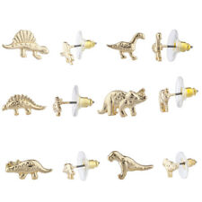 Lux Accessories Gold Tone Dinosaur Jurassic Park T Rex Post Stud Earring Set 6pr