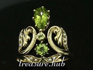 R295 Genuine 9K Solid Gold Natural Peridot Pearl Floral Ornate Ring in your size