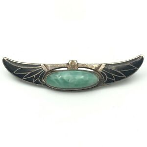 Vintage Sterling Silver Egyptian Revival Art Deco Pin Brooch 925 Black Enamel