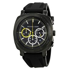 Michael Kors MK8554 Bax Black Dial Silicone Strap Chronograph Men's Watch NWT
