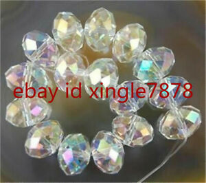 70PC 8x10mm AB+ Clear Multicolor Crystal Faceted Gems Loose Beads AAA