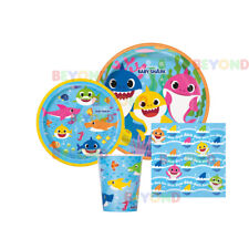 Baby Shark Party Supplies Express Pack for 8 Guests (Napkins & Plates, Cups)