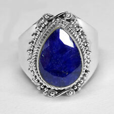 925 Sterling Silver Size US 8 Sapphire Gemstone Unisex Silver Ring