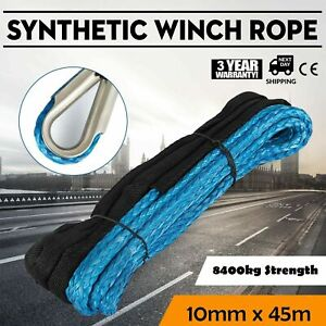 10MM X 45M Winch Rope Synthetic Dyneema SK75 Car Tow Recovery 8400kg Strength