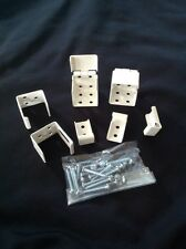 """1""""  White Metal Mini Blind End Brackets With hardware & Center Support  NEW"""