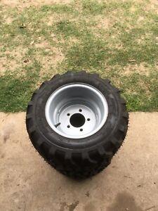 Quantity 3 Of Carlisle 20x8.00-10 NHS R4 4 Ply Bias Ply Tire On Wheel 20-8.00-10