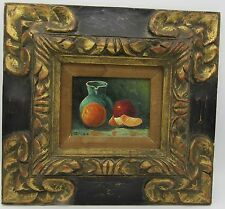 Vintage framed still life oil painting hand carved wood frame Elio Camacho?
