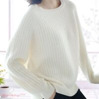 Vogue Womens 100% Cashmere Sweater Long Sleeve Crew Neck Knitted Pullovers Tops