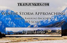 "TrainJunkies HO Scale ""Winter Storm Approaching"" Model Railroad Backdrop 120X18"