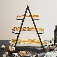 3-Tier Oblong Ceramic Server Catering & Buffet Party Events Iron Stand in White