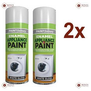 New 2x 300ml White Enamel Spray Paint Household Appliance Aerosol Metal Wood Etc