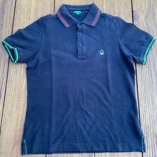 United Colors of Benetton Men's Black Cotton Polo T-Shirt w/ Logo, Size S Small