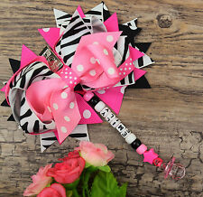 Personalised stunning pram charm in zebra and pink for baby girl ideal gift