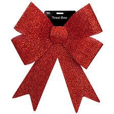 Christmas Tinsel Bow Tree Decoration - Red 37cm x 49cm