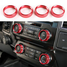 Red For Ford F150 2016 Air Conditioner & Audio Switch Decor Ring Cover Trim 4PC