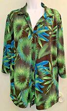Apostrophe Plus Size 1X Tunic Shirt Tropical Button Down Designer Hip Palms 3/4
