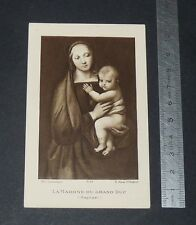CHROMO 1923 IMAGE PIEUSE CATHOLICISME HOLY CARD COMMUNION MADONE RAPHAËL