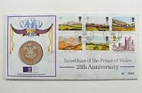 Royal Mail Prince Of Wales 25th Anniversary Stamp & Medal First Day Cover