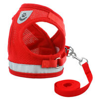Mesh Pet Collar Harness with Leash Puppy Cat Dog Clothes Small Medium Black Red