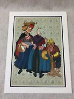 1932 Vintage Dutch Stampa Pesce Mercato Donna Costume Olanda Cromolitografia